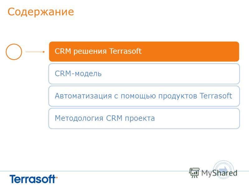 Содержание CRM решения TerrasoftCRM-модельАвтоматизация с помощью продуктов TerrasoftМетодология CRM проекта