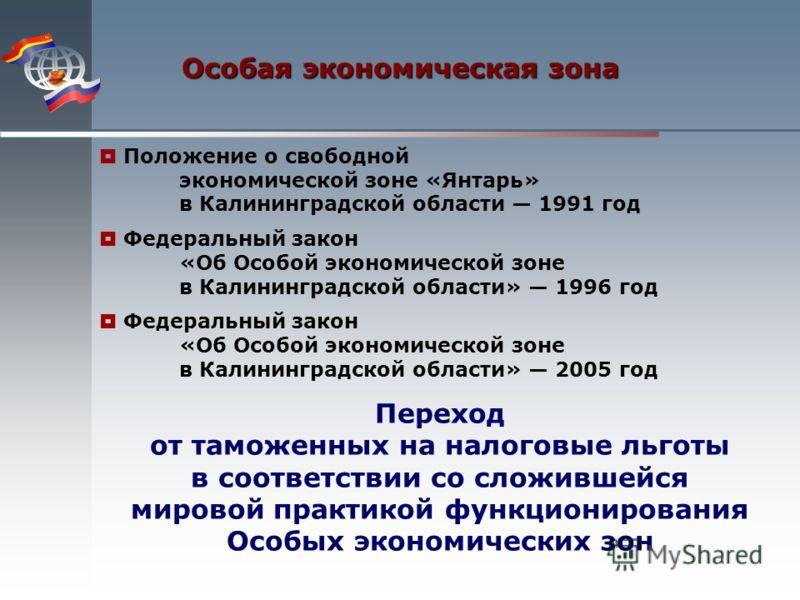 Особая экономическая зона Переход от таможенных на налоговые льготы в соответствии со сложившейся мировой практикой функционирования Особых экономических зон Положение о свободной экономической зоне «Янтарь» в Калининградской области 1991 год Федерал
