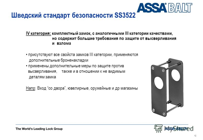 12 Шведский стандарт безопасности SS3522