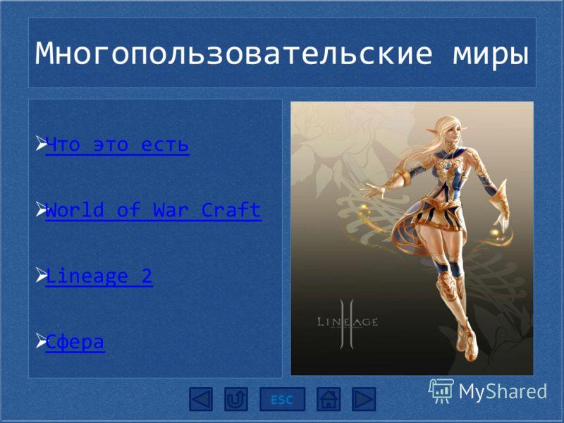 Многопользовательские миры ESC Что это есть Что это есть World of War Craft World of War Craft Lineage 2 Lineage 2 Сфера