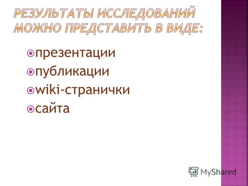 презентации публикации wiki-странички сайта