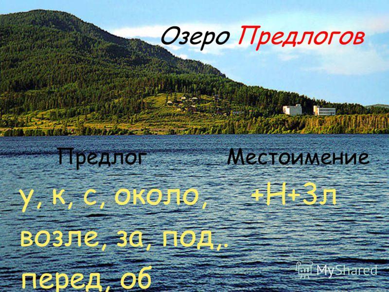 Озеро Предлогов Предлог Местоимение у, к, с, около, +Н+3л возле, за, под,. перед, об