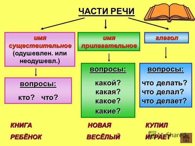 картинки частей речи в начальной школе