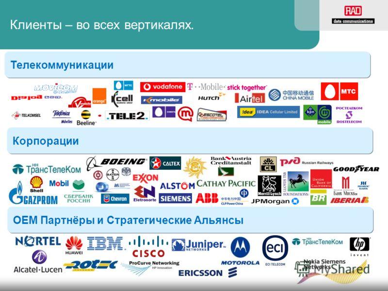 Клиенты – во всех вертикалях. Телекоммуникации Корпорации ОЕМ Партнёры и Стратегические Альянсы