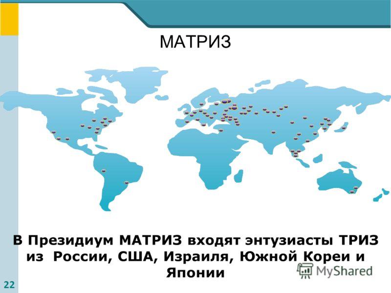 22 МАТРИЗ В Президиум МАТРИЗ входят энтузиасты ТРИЗ из России, США, Израиля, Южной Кореи и Японии