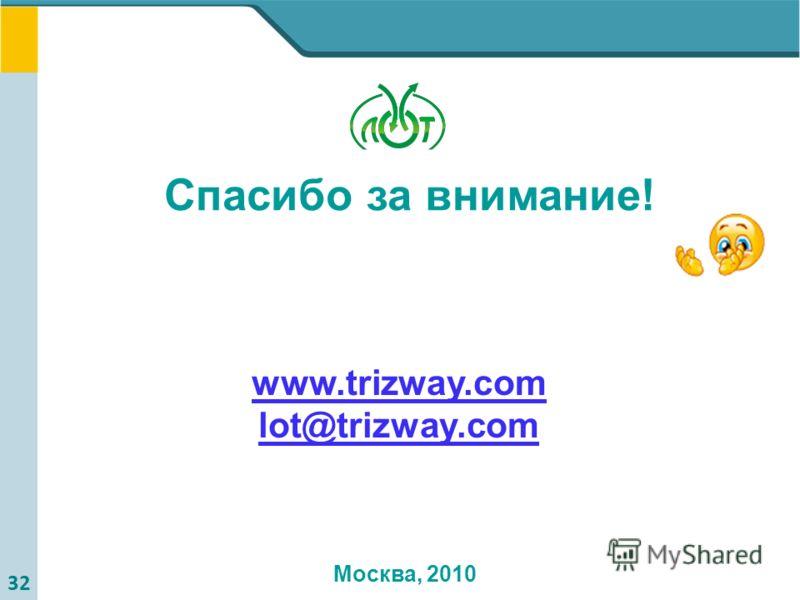 32 Всего хорошего! www.trizway.com lot@trizway.com Спасибо за внимание! Москва, 2010