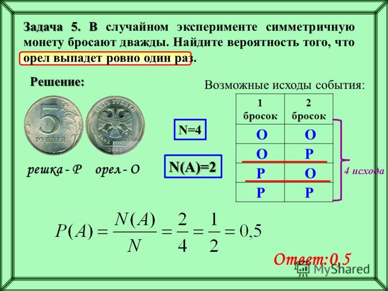Задача 5. В Задача 5. В случайном эксперименте симметричную монету бросают дважды. Найдите вероятность того, что орел выпадет ровно один раз. Решение: орел - Орешка - Р Возможные исходы события: 1 бросок 2 бросок О РО О О Р РР N=4 N(A)=2 Ответ:0,5 4