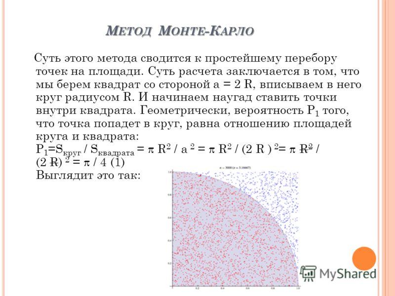 М ЕТОД М ОНТЕ -К АРЛО М ЕТОД М ОНТЕ -К АРЛО Суть этого метода сводится к простейшему перебору точек на площади. Суть расчета заключается в том, что мы берем квадрат со стороной a = 2 R, вписываем в него круг радиусом R. И начинаем наугад ставить точк