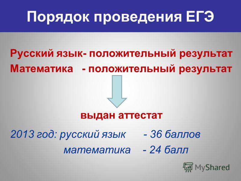 Порядок проведения ЕГЭ Русский язык- положительный результат Математика - положительный результат выдан аттестат 2013 год: русский язык - 36 баллов математика - 24 балл