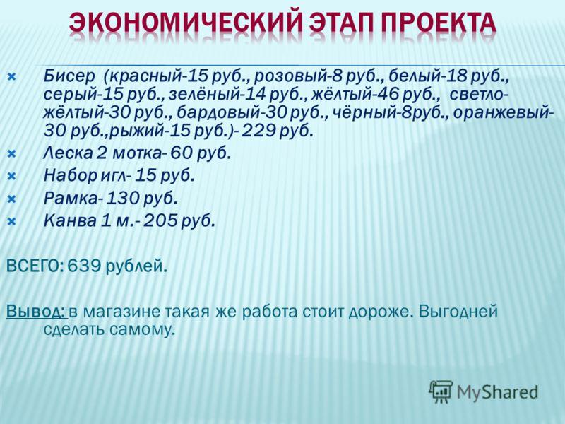 Бисер (красный-15 руб., розовый-8 руб., белый-18 руб., серый-15 руб., зелёный-14 руб., жёлтый-46 руб., светло- жёлтый-30 руб., бардовый-30 руб., чёрный-8руб., оранжевый- 30 руб.,рыжий-15 руб.)- 229 руб. Леска 2 мотка- 60 руб. Набор игл- 15 руб. Рамка