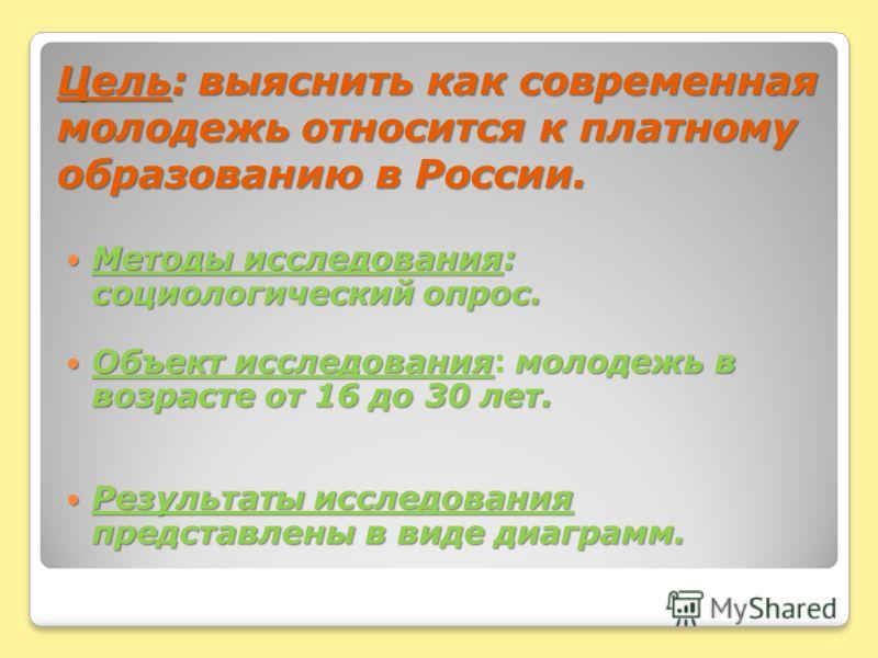 Цель: выяснить как современная молодежь относится к платному образованию в России. Методы исследования: социологический опрос. Методы исследования: социологический опрос. Объект исследованиямолодежь в возрасте от 16 до 30 лет. Объект исследования: мо
