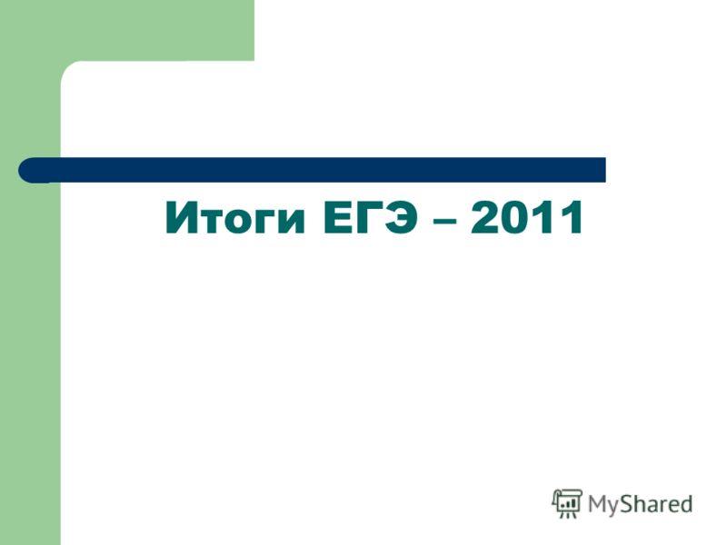 Итоги ЕГЭ – 2011