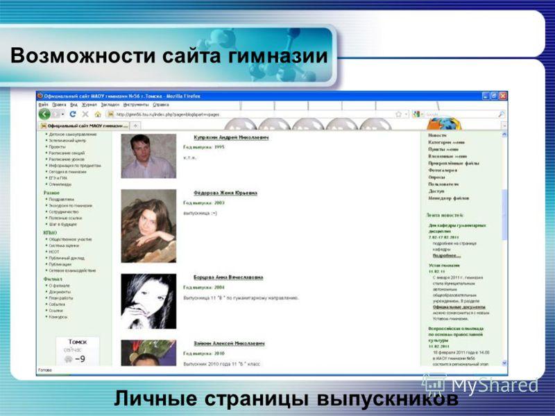 Возможности сайта гимназии Личные страницы выпускников