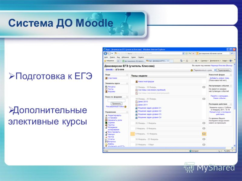 Система ДО Moodle Подготовка к ЕГЭ Дополнительные элективные курсы