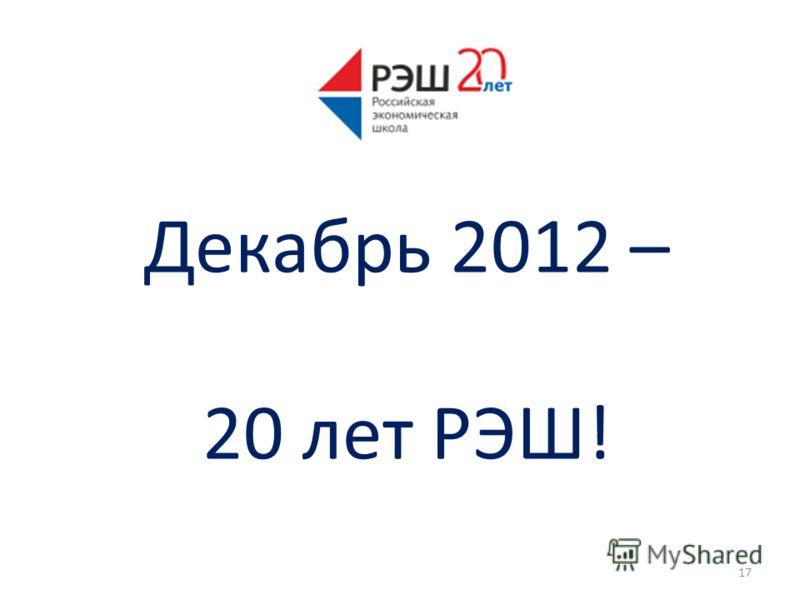 Декабрь 2012 – 20 лет РЭШ! 17