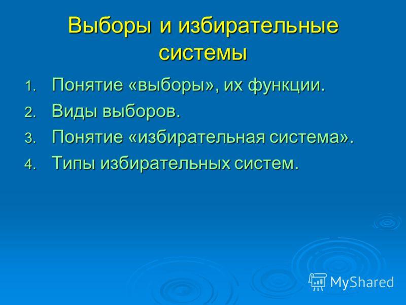 Выборы и избирательные системы 1. Понятие «выборы», их функции. 2. Виды выборов. 3. Понятие «избирательная система». 4. Типы избирательных систем.