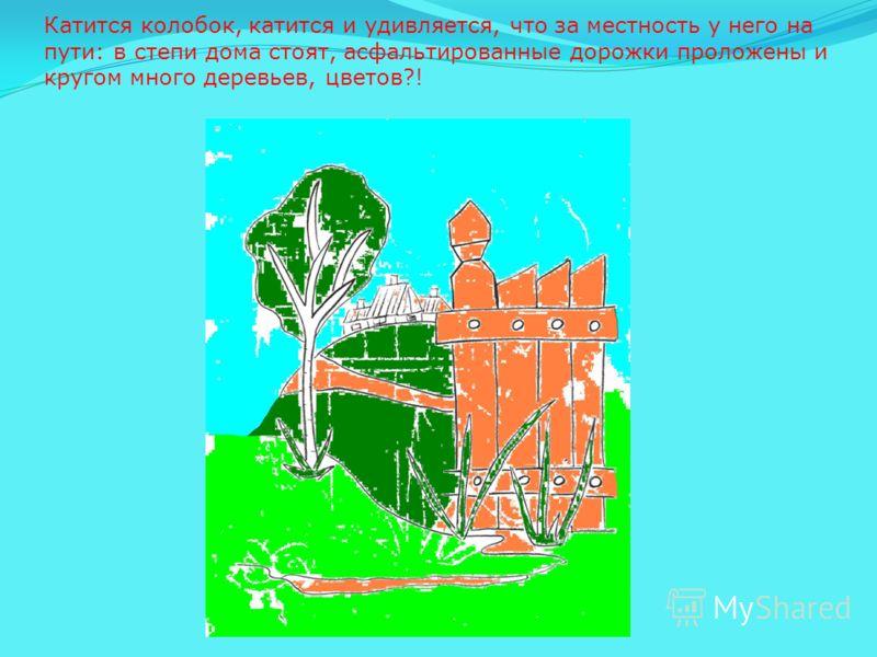 Катится колобок, катится и удивляется, что за местность у него на пути: в степи дома стоят, асфальтированные дорожки проложены и кругом много деревьев, цветов?!