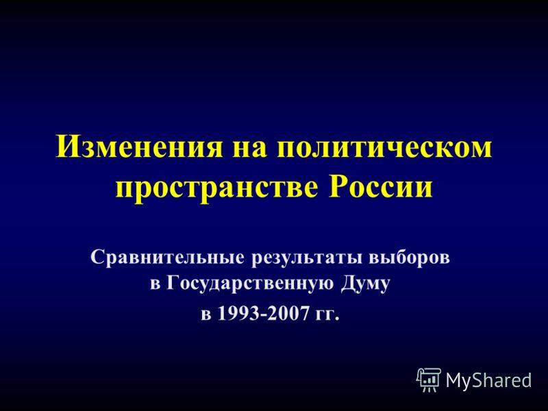 Изменения на политическом пространстве России Сравнительные результаты выборов в Государственную Думу в 1993-2007 гг.