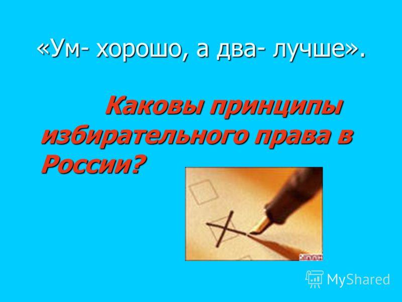 «Ум- хорошо, а два- лучше». Каковы принципы избирательного права в России? Каковы принципы избирательного права в России?