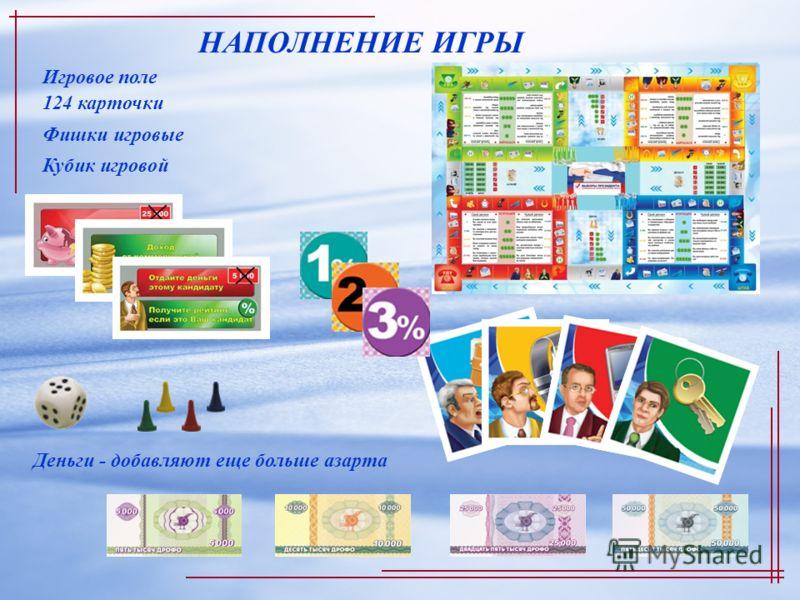 НАПОЛНЕНИЕ ИГРЫ 124 карточки Игровое поле Деньги - добавляют еще больше азарта Фишки игровые Кубик игровой