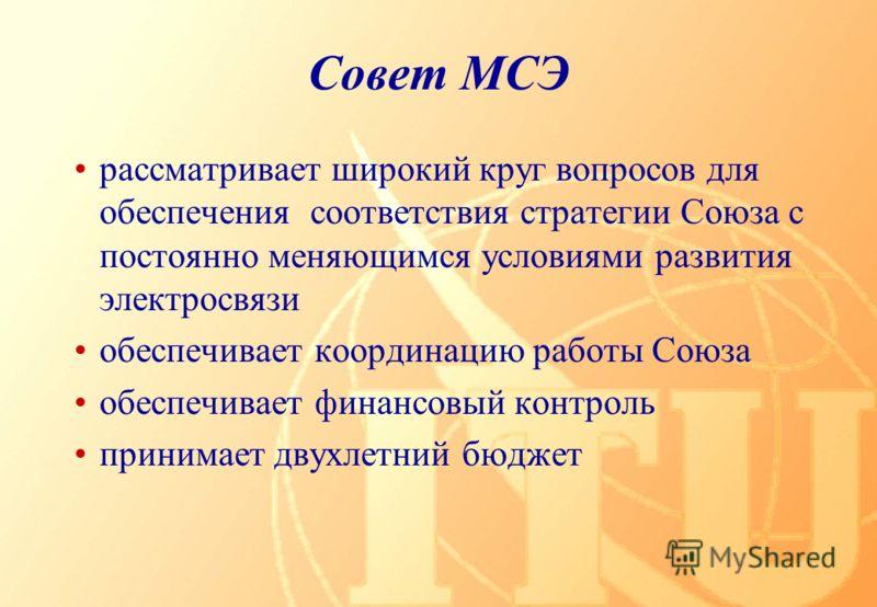Совет МСЭ рассматривает широкий круг вопросов для обеспечения соответствия стратегии Союза с постоянно меняющимся условиями развития электросвязи обеспечивает координацию работы Союза обеспечивает финансовый контроль принимает двухлетний бюджет