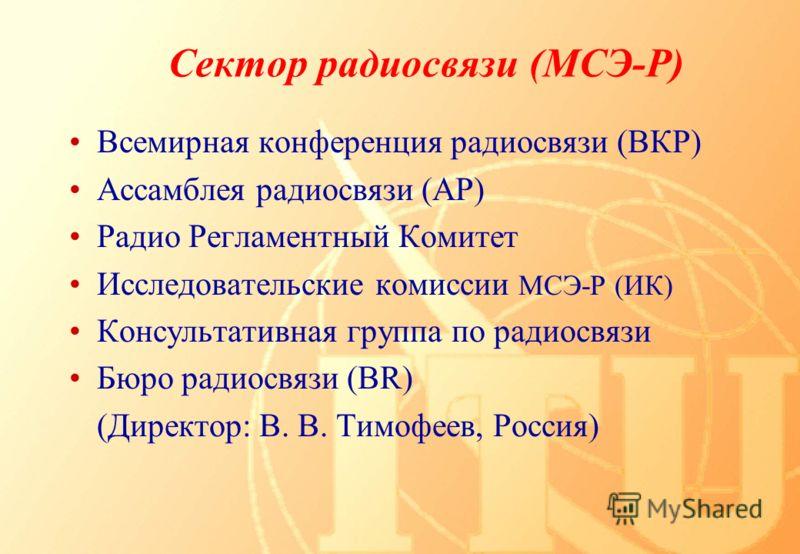 Всемирная конференция радиосвязи (ВКР) Ассамблея радиосвязи (АР) Радио Регламентный Комитет Исследовательские комиссии МСЭ-Р (ИК) Консультативная группа по радиосвязи Бюро радиосвязи (BR) (Директор: В. В. Тимофеев, Россия)