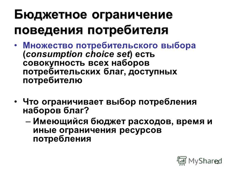 12 Бюджетное ограничение поведения потребителя Множество потребительского выбора (consumption choice set) есть совокупность всех наборов потребительских благ, доступных потребителю Что ограничивает выбор потребления наборов благ? –Имеющийся бюджет ра