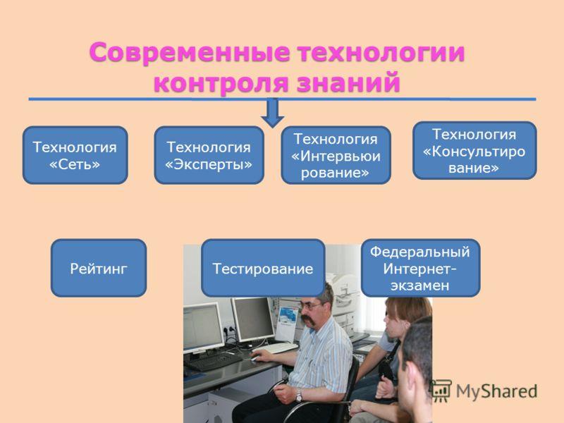 Современные технологии контроля знаний Технология «Сеть» Технология «Эксперты» Технология «Интервьюи рование» Технология «Консультиро вание» РейтингТестирование Федеральный Интернет- экзамен