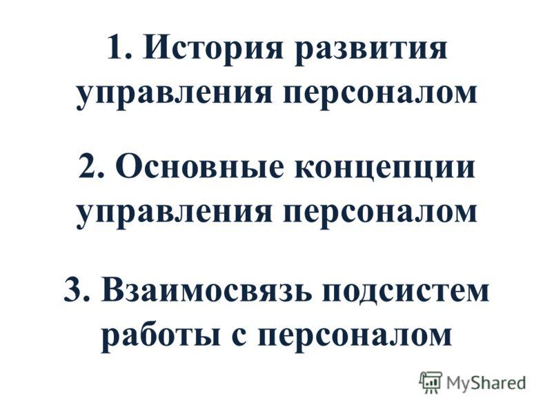 1. История развития управления персоналом 2. Основные концепции управления персоналом 3. Взаимосвязь подсистем работы с персоналом
