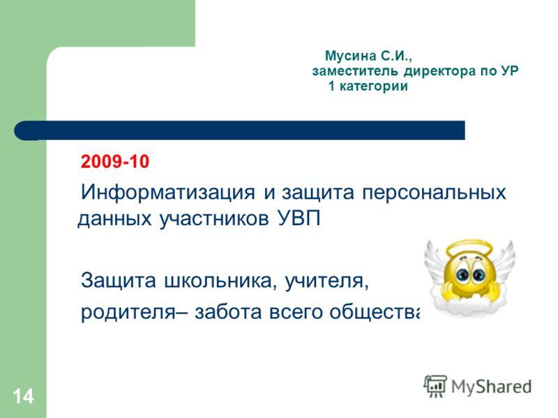 14 Мусина С.И., заместитель директора по УР 1 категории 2009-10 Информатизация и защита персональных данных участников УВП Защита школьника, учителя, родителя– забота всего общества