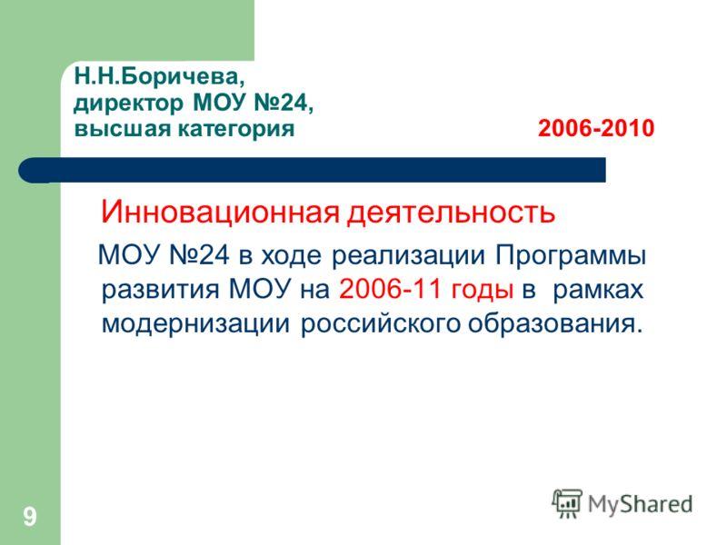 9 Н.Н.Боричева, директор МОУ 24, высшая категория 2006-2010 Инновационная деятельность МОУ 24 в ходе реализации Программы развития МОУ на 2006-11 годы в рамках модернизации российского образования.