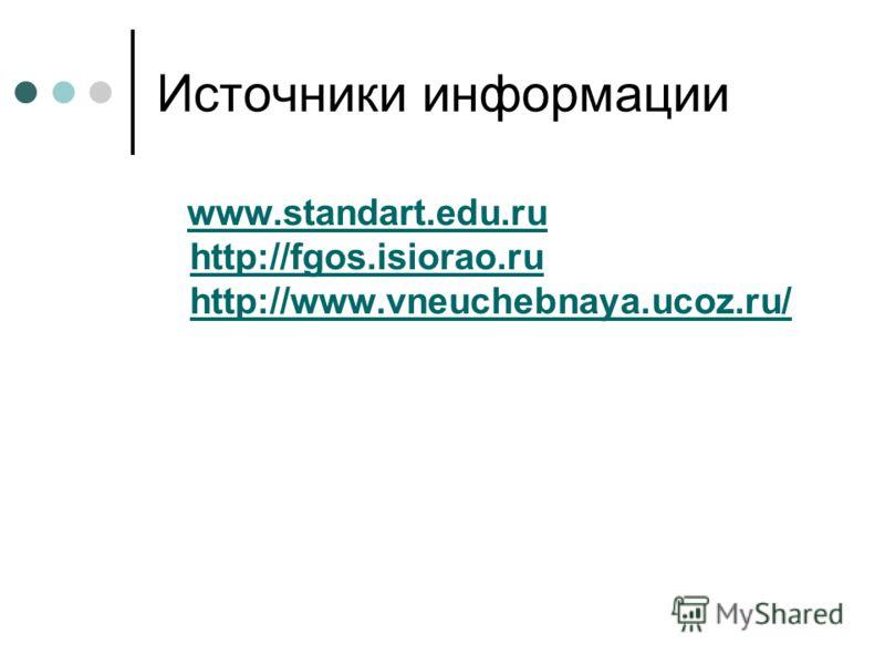 Источники информации www.standart.edu.ru http://fgos.isiorao.ru http://www.vneuchebnaya.ucoz.ru/www.standart.edu.ru http://fgos.isiorao.ru http://www.vneuchebnaya.ucoz.ru/