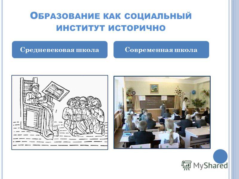 О БРАЗОВАНИЕ КАК СОЦИАЛЬНЫЙ ИНСТИТУТ ИСТОРИЧНО Средневековая школаСовременная школа