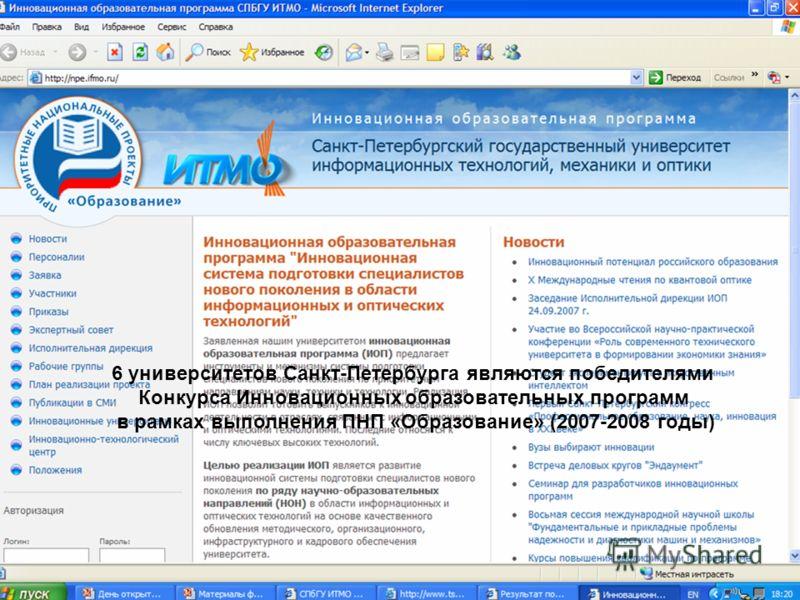 6 университетов Санкт-Петербурга являются победителями Конкурса Инновационных образовательных программ в рамках выполнения ПНП «Образование» (2007-2008 годы)