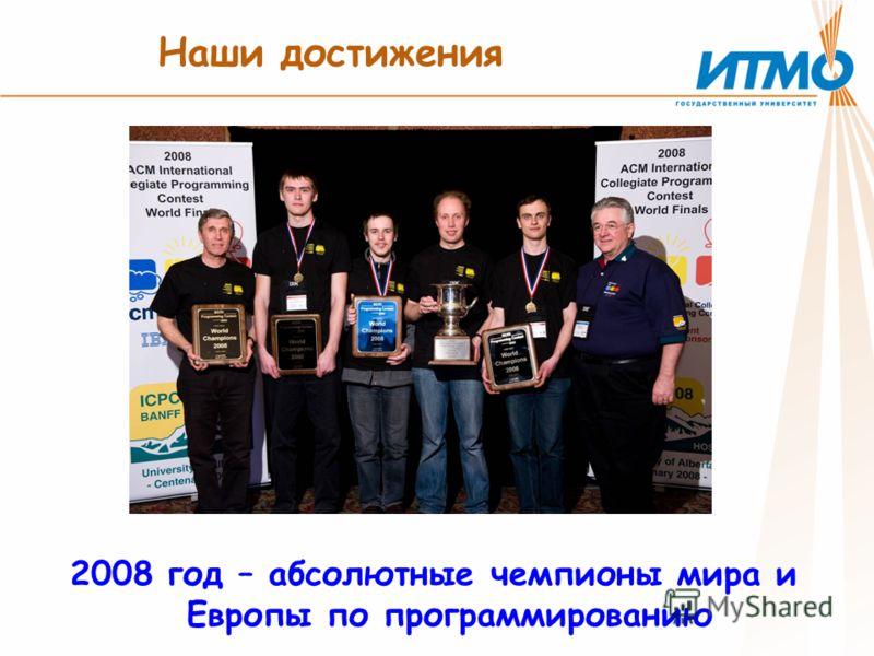 Наши достижения 2008 год – абсолютные чемпионы мира и Европы по программированию