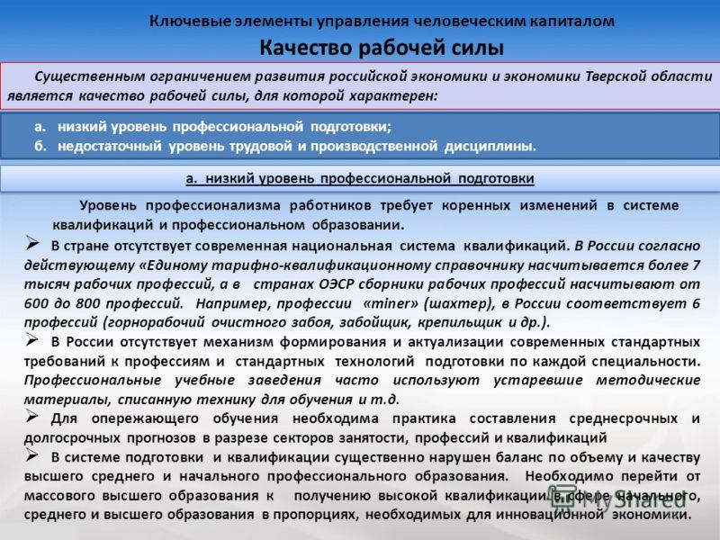 13 Существенным ограничением развития российской экономики и экономики Тверской области является качество рабочей силы, для которой характерен: Ключевые элементы управления человеческим капиталом Качество рабочей силы а. низкий уровень профессиональн
