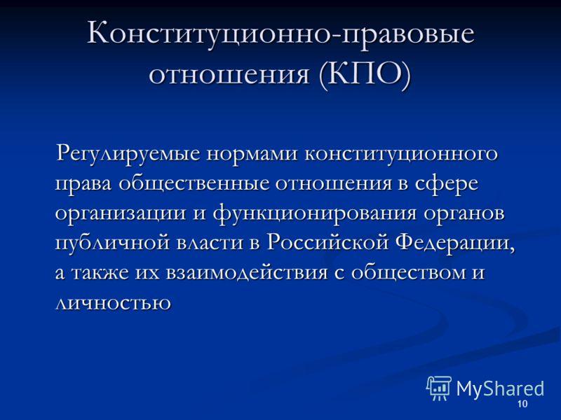 10 Конституционно-правовые отношения (КПО) Регулируемые нормами конституционного права общественные отношения в сфере организации и функционирования органов публичной власти в Российской Федерации, а также их взаимодействия с обществом и личностью