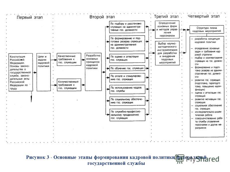 Рисунок 3 - Основные этапы формирования кадровой политики федеральной государственной службы