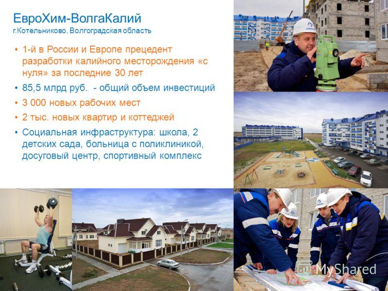 1-й в России и Европе прецедент разработки калийного месторождения «с нуля» за последние 30 лет 85,5 млрд руб. - общий объем инвестиций 3 000 новых рабочих мест 2 тыс. новых квартир и коттеджей Социальная инфраструктура: школа, 2 детских сада, больни