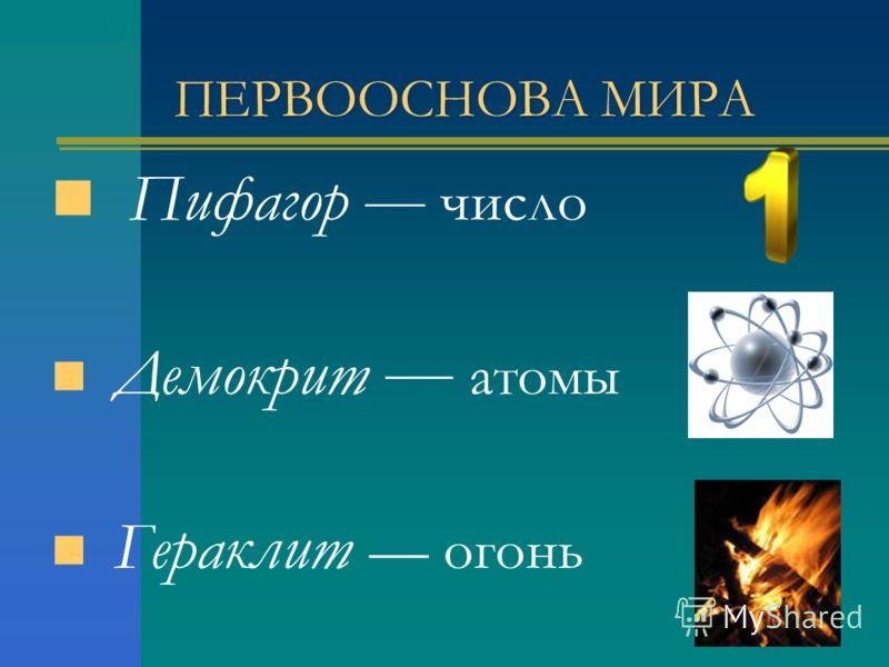 ПЕРВООСНОВА МИРА Пифагор число Демокрит атомы Гераклит огонь