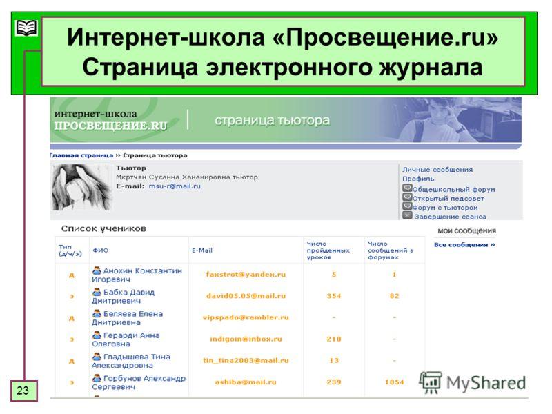 23 Интернет-школа «Просвещение.ru» Страница электронного журнала