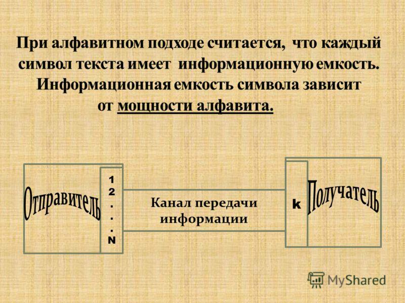 N алфавита из русских букв равна 32 (без буквы ё); N алфавита текста, набранного с клавиатуры равна 256; N двоичного алфавита равна 2; (0, 1) N шестнадцатиричного алфавита равна 16; (0 1 2 3 4 5 6 7 8 9 A B C D E F)