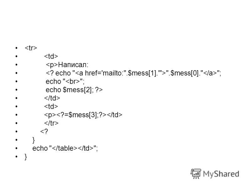 Написал: .$mess[0]. ; echo  ; echo $mess[2]; ?>