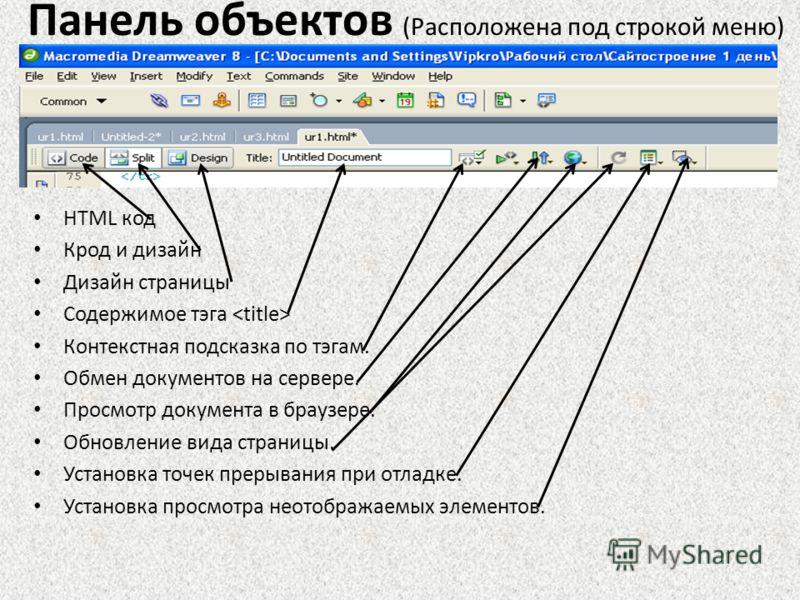 Панель объектов (Расположена под строкой меню) HTML код Крод и дизайн Дизайн страницы Содержимое тэга Контекстная подсказка по тэгам. Обмен документов на сервере. Просмотр документа в браузере. Обновление вида страницы. Установка точек прерывания при