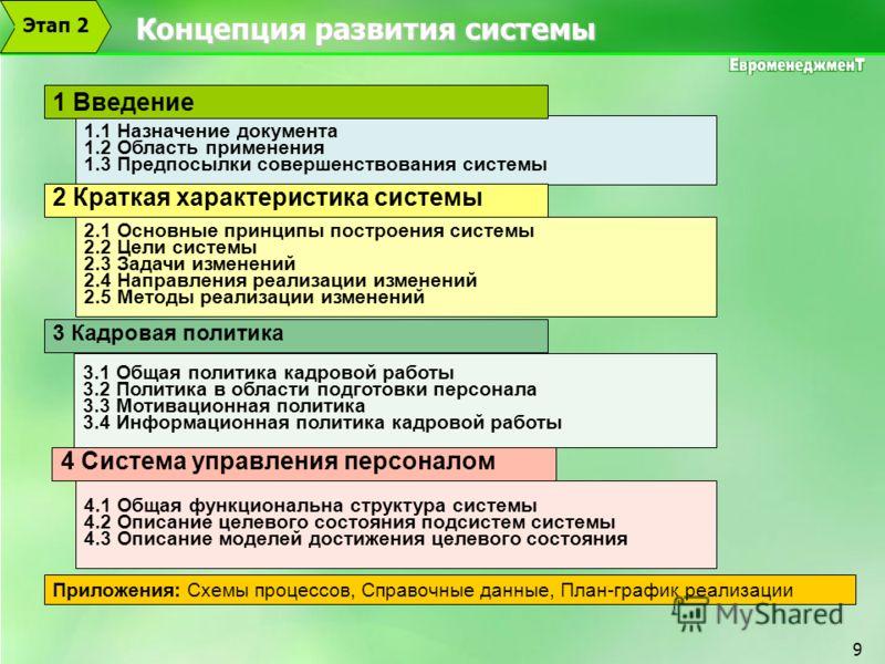 9 Концепция развития системы 1.1 Назначение документа 1.2 Область применения 1.3 Предпосылки совершенствования системы 2.1 Основные принципы построения системы 2.2 Цели системы 2.3 Задачи изменений 2.4 Направления реализации изменений 2.5 Методы реал