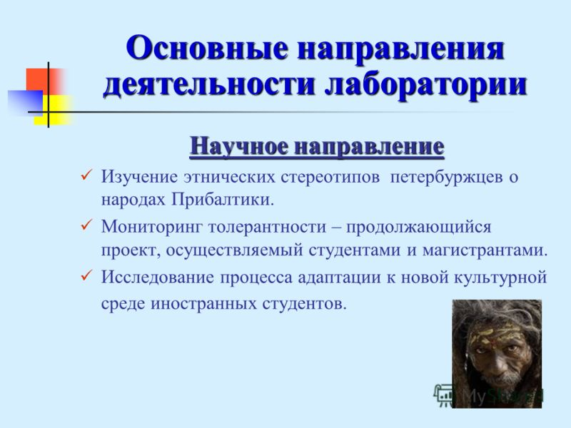 Основные направления деятельности лаборатории Научное направление Изучение этнических стереотипов петербуржцев о народах Прибалтики. Мониторинг толерантности – продолжающийся проект, осуществляемый студентами и магистрантами. Исследование процесса ад