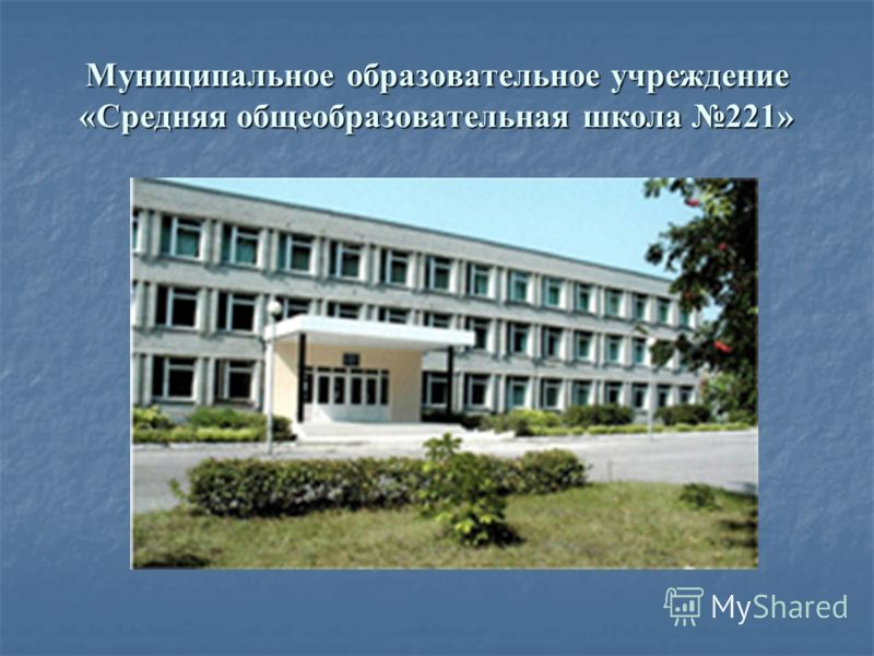 Муниципальное образовательное учреждение «Средняя общеобразовательная школа 221»