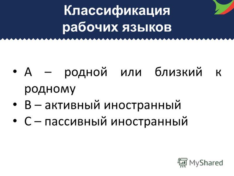Классификация рабочих языков А – родной или близкий к родному В – активный иностранный С – пассивный иностранный