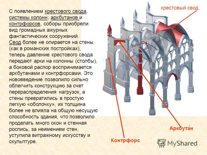 C появлением крестового свода, системы колонн, аркбутанов и контрфорсов, соборы приобрели вид громадных ажурных фантастических сооружений. Свод более не опирается на стены (как в романских постройках), теперь давление крестового свода передают арки н
