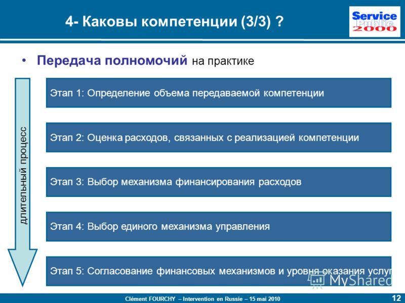 Clément FOURCHY – Intervention en Russie – 15 mai 2010 12 4- Каковы компетенции (3/3) ? Передача полномочий на практике Этап 1: Определение объема передаваемой компетенции Этап 2: Оценка расходов, связанных с реализацией компетенции Этап 3: Выбор мех